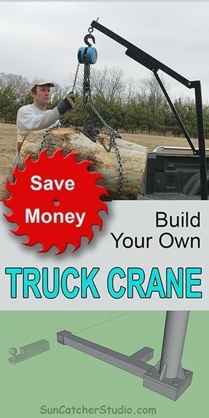 Homemade truck crane. This DIY pickup crane can can lift heavy loads, removes  easily, folds for storage, and requires no modification to your truck.  By building it yourself, you can save money and save your back.