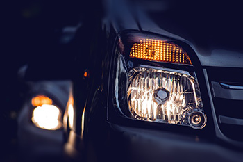 low beam headlights on a vehicle